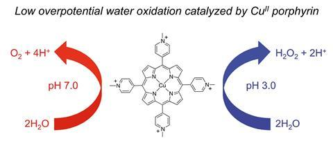 A scheme showing the catalysis of the oxygen evolution reaction in neutral aqueous solutions