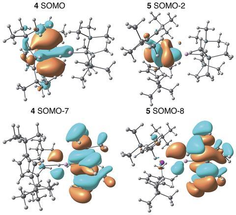 Calculations confirmed the structures as the first examples of An-M interactions where the actinide behaves as an electron donor