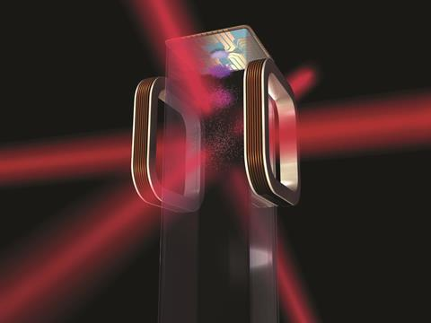 Artist's concept of a magneto-optical trap and atom chip to be used on ISS