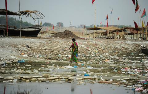 A picture of plastic pollution in the Ganges River