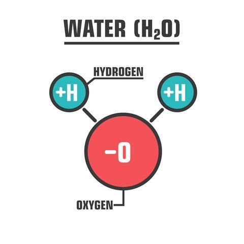 H2O water molecule illustration