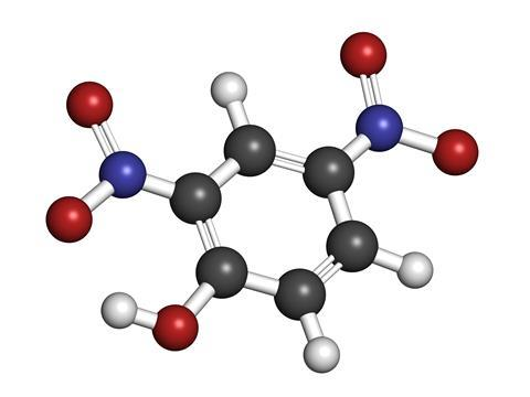 2,4-dinitrophenol, DNP 3D molecule