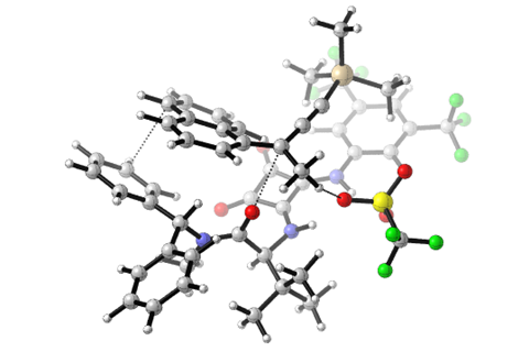 Computational image of the squaramide catalyst (bottom) holding the carbocation intermediate (top) in the chirality-inducing step. Non-covalent bonds such as charge interactions and aromatic stacking allow the nucleophile to only attach to one side of the