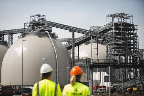 A picture of the biomass domes at Drax Power Station