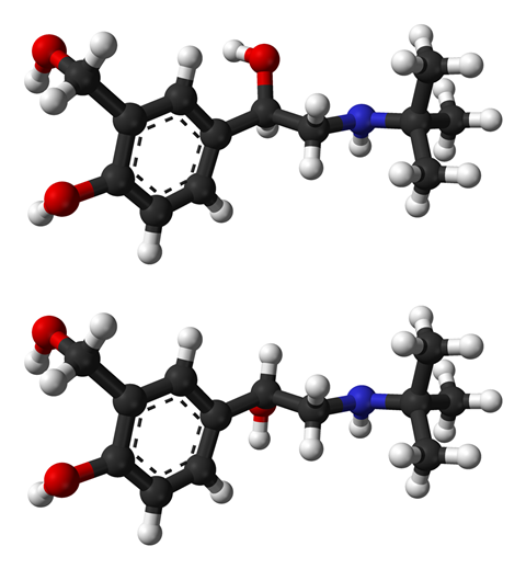 Ball-and-stick structure of (R)-(−)-salbutamol and (S)-(+)-salbutamol