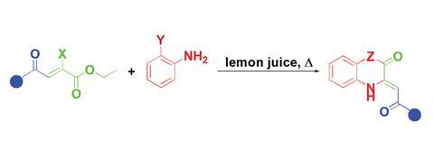 Lemon juice catalysed reaction