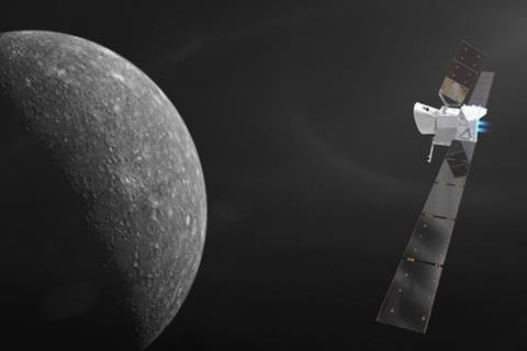Artist's impression of BepiColombo approaching planet Mercury