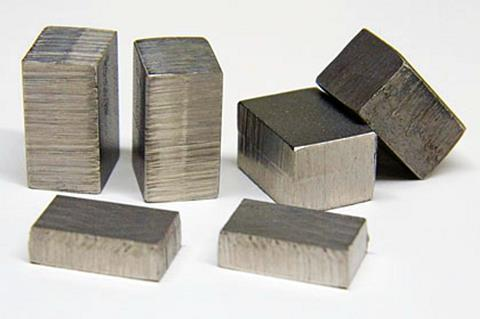 Samples of Invar, a nickel-iron alloy with a very low coefficient of thermal expansion.