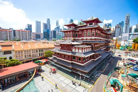 A photograph of the Buddha Tooth Relic Temple in Singapore