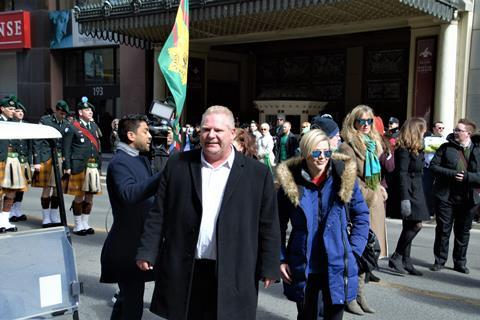 Mr. Doug Ford, the newly elected leader of Conservative Party joined the crowd during the Saint Patrick Day Parade in the city in March 2018