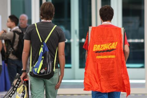 A person wearing a Big bang theory 'Bazinga!' cape