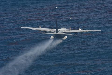 An image showing the oil dispersing chemical dropped from aircraft