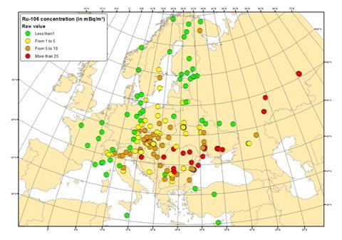 Average value of the 106Ru concentration in the atmosphere for each monitoring station in Europe/Russia over the whole sampling period during which ruthenium was detected