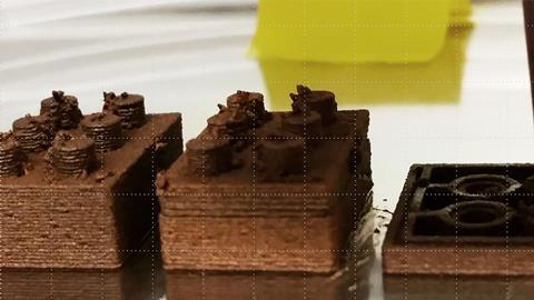 Martian ink being 3D printed into stackable building blocks