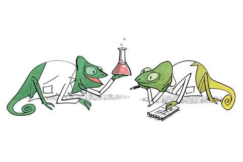 An image showing two chameleons talking about chemistry