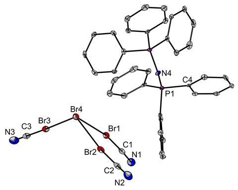 An image showing the molecular structure of [PNP][Br(BrCN)3] in the solid state