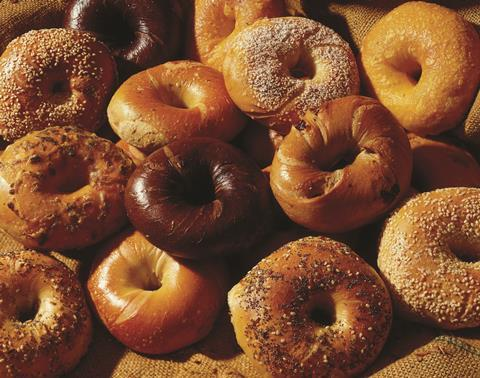 Variety of baked bagels