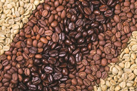 Variety of roasted and unroasted coffee beans
