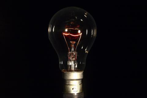 An image showing a dim light bulb