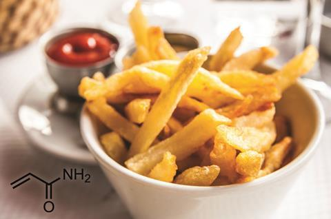 French fries in a bowl, with acrylamide structure on the side