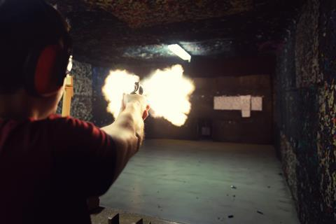 Muzzle flash at the firing range