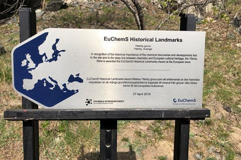 An EuChemS Historical Landmarks sign