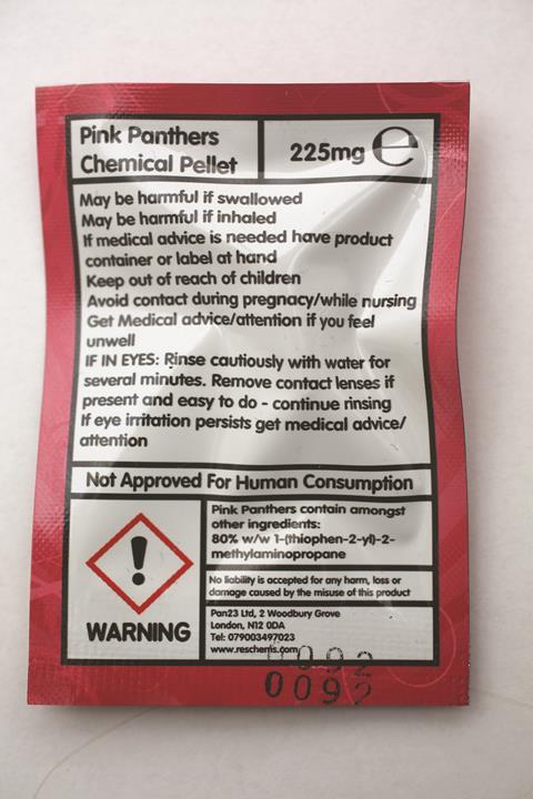 0917CW - Legal Highs Feature - Back of legal high packet listing ingredients and warnings