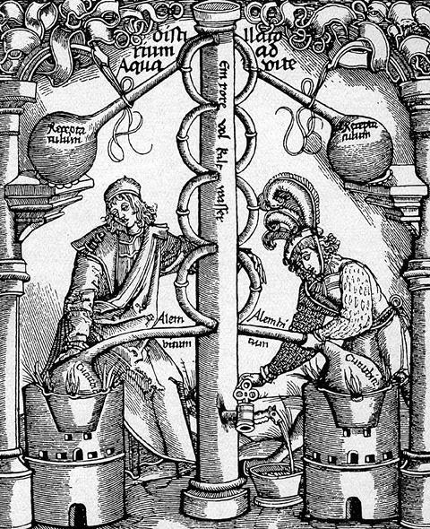 Alcohol distillation device, woodcut c1500