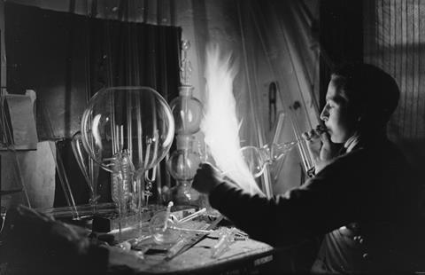 Glass blower at Scientific Supplies Company, c1933