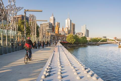 Cycling down the banks of the Yarra river, Melbourne