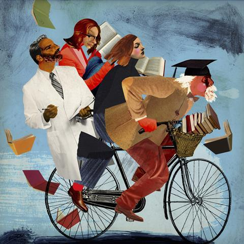 An image showing a university professor riding a bike carrying students and a researcher on the same vehicle