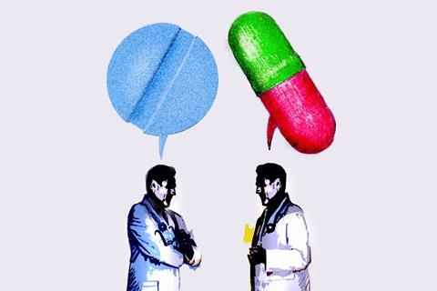 An illustration showing two people wearing lab coats, talking; speech bubbles are rendered as medicine pills