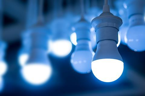 Blue domestic LED light bulbs