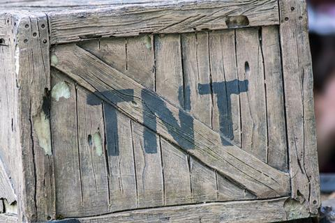TNT. Box of dynamite. Wild West cowboy mining explosive in wooden crate painted with the letters T N T