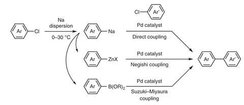 A scheme showing the preparation of organozinc and organoboron compounds