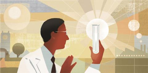 1117CW - News leader - Scientist looking at flask, illustration