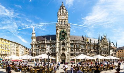 A photograph of New Town Hall at Marienplatz Square, Munich