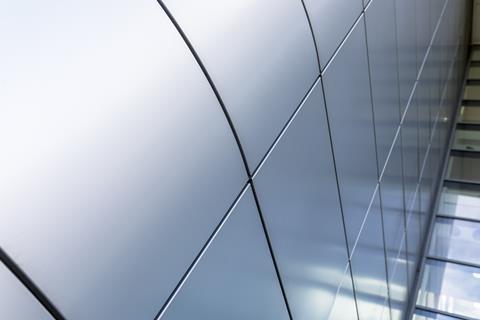 Close up shot of aluminium cladding