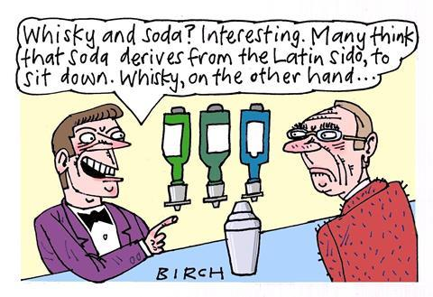 Cartoon about whisky and soda