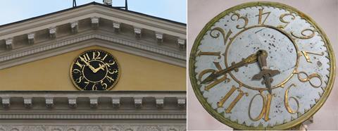 Helsinki government palace clock faces, before and after restoration