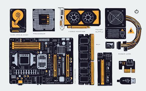 Computer components sketch