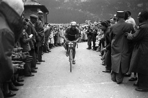 Gino Bartali winning the 15th stage during the Tour de France, in 1948