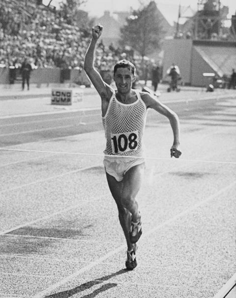 Ron Hill winning the marathon at the British Commonwealth games in 1970