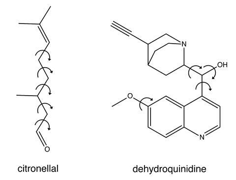 Image showing the chemical structures of citronellal and dehydroquinidine