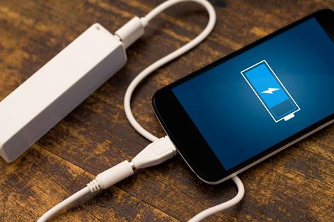 Charging a mobile phone from a portable battery