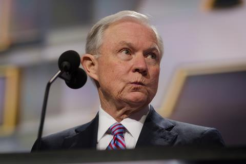 Senator Jeff Sessions stumps for presumptive Republican presidential nominee Donald Trump at the Republican National Convention.