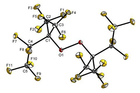 A picture showing the molecular structure in the solid state of [(C2F5)(F3C)2CO]2