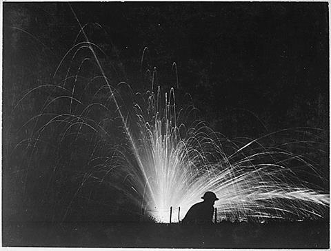 Night attack with phosphorus bombs in maneuvers. First Corps School. Gondrecourt, France. 15 August 1918