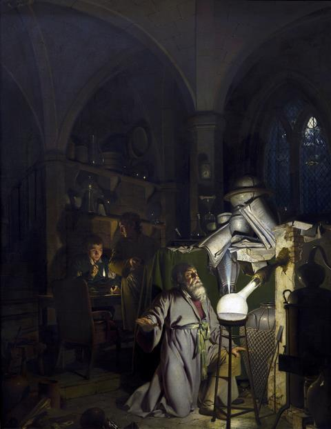 The alchymist, in search of the philosopher's stone, discovers phosphorus, and prays for the successful conclusion of his operation, as was the custom of the ancient chymical astrologers, by Joseph Wright of Derby