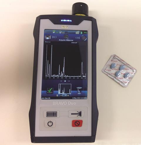 Handheld Raman spectrometer and Viagra tablets